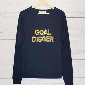 Bow & Drape Goal Digger Sequined Black Sweatshirt